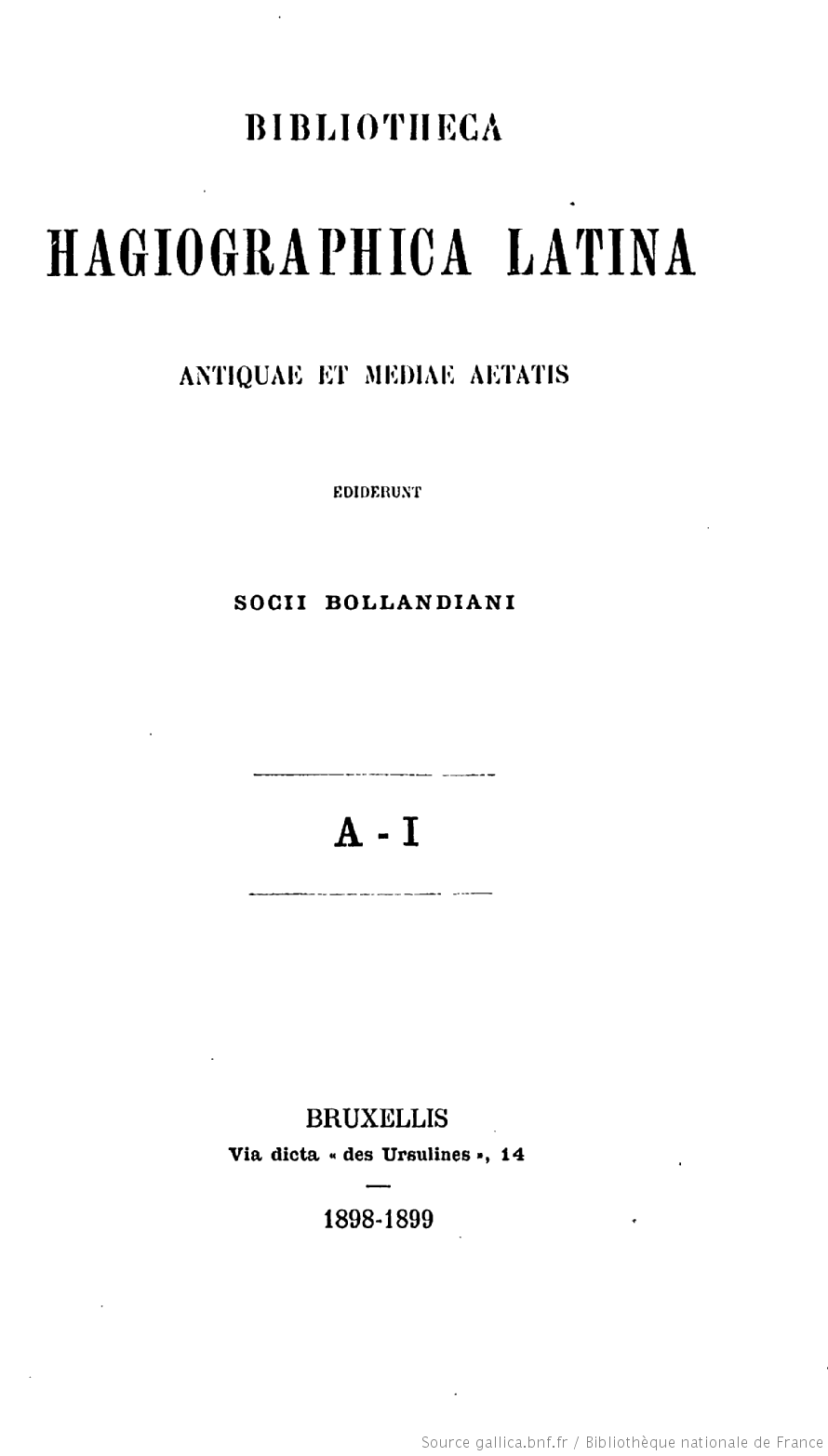 Page de titre de la Bibliotheca hagiographica Latina antiquae et mediae aetatis