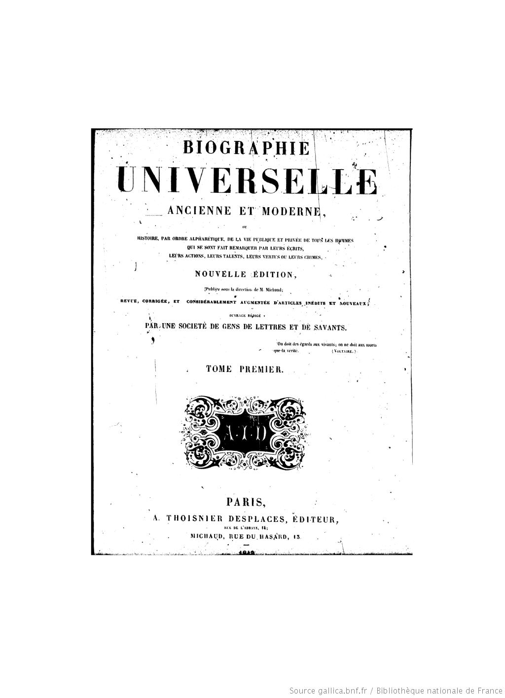 Page de titre de la Biographie universelle ancienne et moderne : histoire par ordre alphabétique de la vie publique et privée de tous les hommes