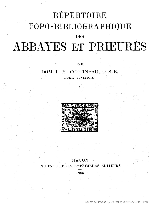 Page de titre du répertoire topo-bibliotgraphique des abbayes et prieurés
