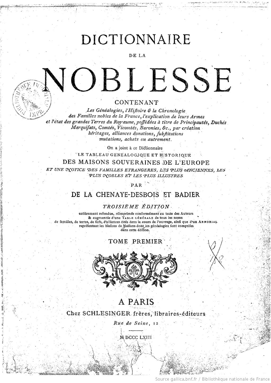 Page de titre du dictionnaire de la noblesse