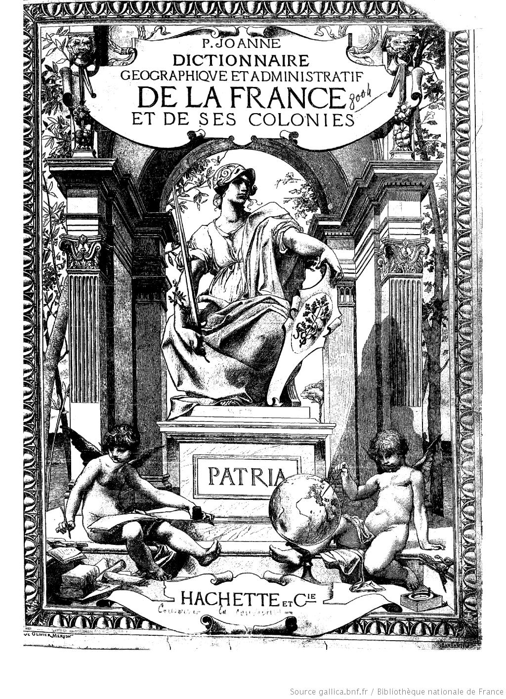 Page de titre du dictionnaire géographique et administratif de la France et de ses colonies