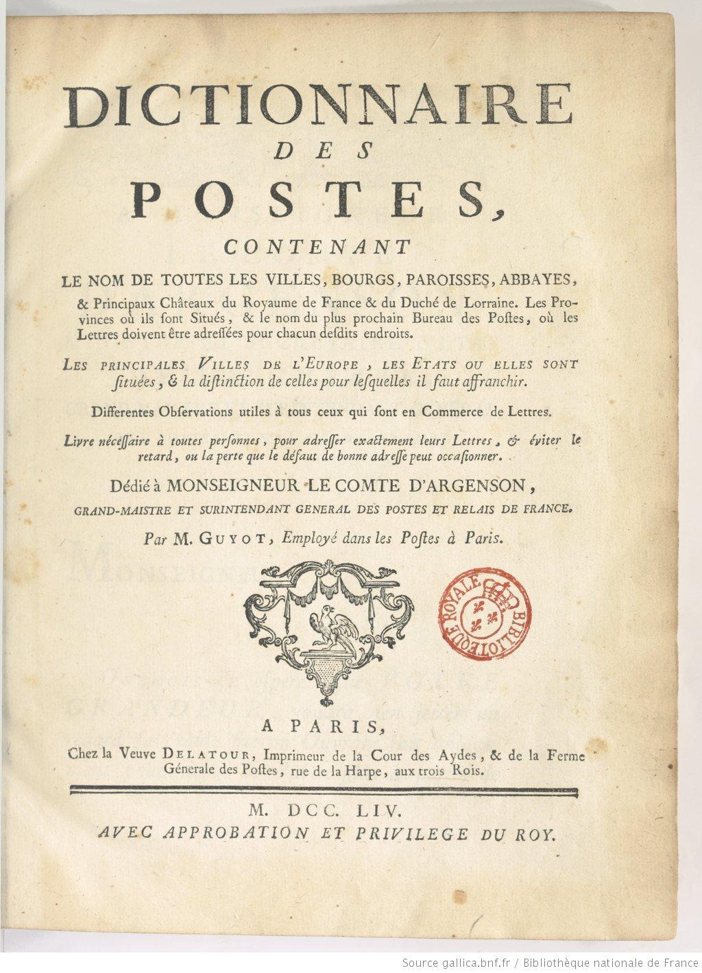 Page de titre du dictionnaire des postes