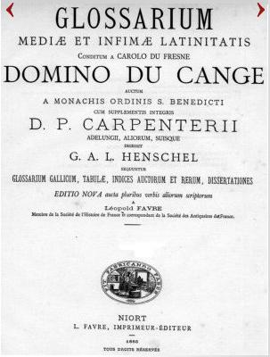 Page de titre du Glossarium mediae et infimae latinitatis