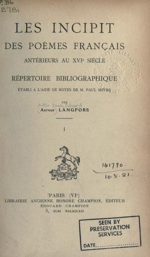 """Page de titre de """"Les incipit des poèmes français antérieurs au XVIe siècle"""""""