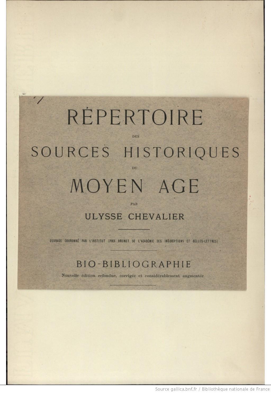Page de titre du répertoire des sources historiques du moyen âge: bio-bibliographie