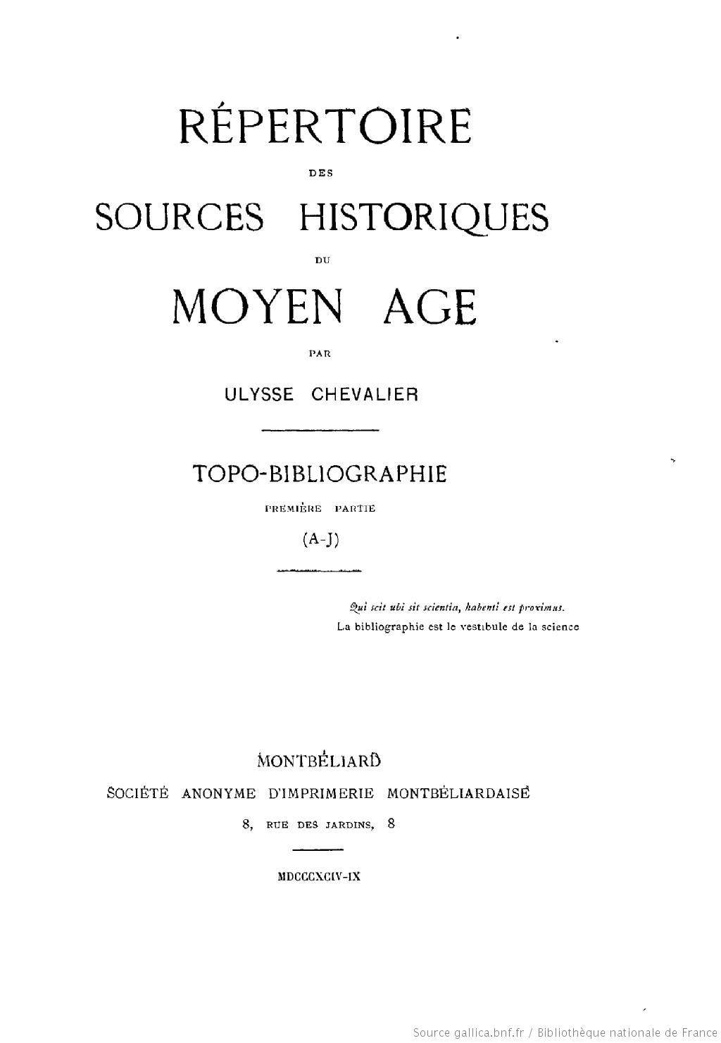 Page de titre du Répertoire des sources historiques du moyen âge : topo-bibliographie